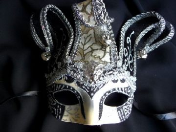 Black & Silver Jester mask (1)